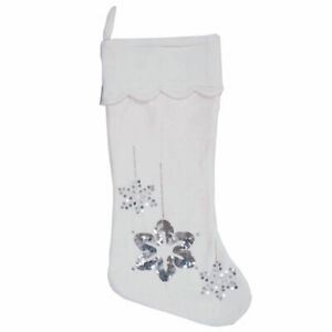 "Vickerman 8"" x 19"" Silver Flakes Stocking"