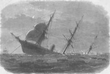 YANGON. sinking after removal of passengers & crew, antique print, 1871