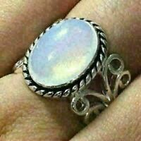 4 Ct Oval Blue Opal Solitaire Ring Women Jewelry Gift 14K White Gold Plated