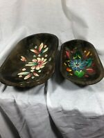 Lot Of 2 Vintage Made In Haiti Decorative Handpainted Floral Bowls, Folk Art