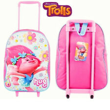 Dreamworks Trolls 38cm Junior Standard Trolley Cabin Bag Kid Children Girls Pink