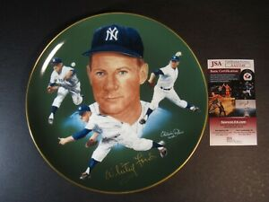 """WHITEY FORD HAND SIGNED AUTOGRAPHED HACKETT 10"""" LIMITED COLLECTIBLE PLATE JSA"""