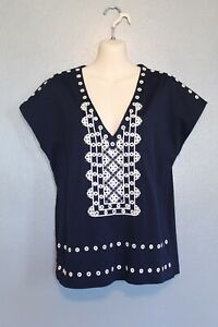 J Crew Navy Blue Eyelet Embroidered Tunic Top XS