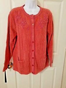 Womens Orange Knit Cardigan Sweater Embellished Floral Beads Size Large