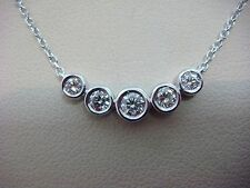 ELEGANT 0.35 CT T.W. 5 BEZEL SET DIAMONDS LADIES NECKLACE 14K WHITE GOLD