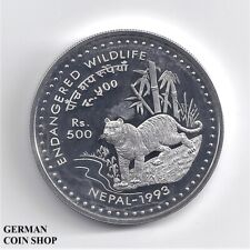 Nepal 1993 500 Rupees Tiger Silver Pp - Proof Silver