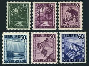 Austria 483-488,483 hinged, other MNH. Landscapes, 1946-1947. Railroad viaducts.