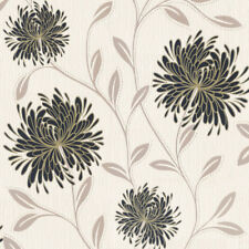 Flower Floral Luxury Textured Embossed Vinyl Wallpaper Glitter Cream Black Gold