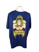 Men's Blue XL t-shirt 2018 Ultimate Warrior WWF Wrestling Yellow lettering