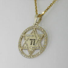 14K Yellow Gold Star of David with Black&White Diamonds