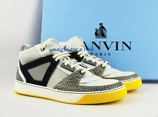 LANVIN WHITE, YELLOW 100% LEATHER RUBBER SOLE SHOES SNEAKERS ITALY # 17 NEW BOX