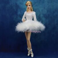 Handmade White Vintage Ballet Skirt Shoes Mini Dress Clothes For Barbie Doll A46