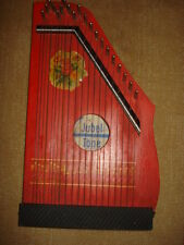 VINTAGE OLD 1960-65's GERMANY JUBEL TONE ZITHER 20 STRINGS PAINTING WOOD RED