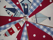 HANDMADE BOYS NAUTICAL LAURA ASHLEY BLUE GINGHAM RED DOT CLARKE & CLARKE BUNTING