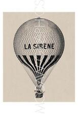 RETRO ART PRINT La Sirene Hot Air Balloon