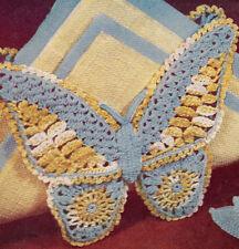 Vintage Crochet PATTERN to make Butterfly Motif Napkin Holder or Applique