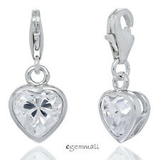 Sterling Silver CZ Heart Charm with Lobster Clasp 7x18mm Clear #94035