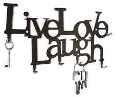 Live Love Laugh KEY HOOK Wall Key Holder - Steel Black Hooks design