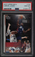 Pop 22🔥2007 Upper Deck Basketball LeBron James #192 PSA 10 GEM MINT