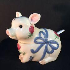 Lenox Poppies On Blue Barnyard Pig Sugar Figural Bowl Lid Set MISMATCHED SPOON