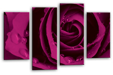 PURPLE ROSE FLORAL LOVE ART PICTURE FLOWER CANVAS WALL MULTI 4 PANEL 112cm