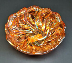 "VINTAGE IMPERIAL 7-1/2"" MARIGOLD ACANTHUS SWIRL PLUME CARNIVAL GLASS BOWL!"