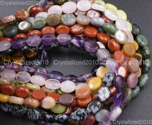 """Natural Gemstone Oval Spacer Loose Beads 8mm 10mm 14mm Quartz Turquoise Jade 16"""""""
