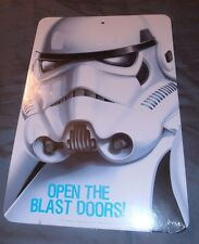 STAR WARS STORMTROOPER Two Sided Wall Sign 12x8 Open The Blast Doors! Cool Movie