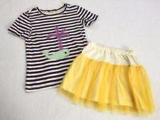 Morgan & Milo 8 10 Navy Stripe Whale Shirt Yellow Tulle Skirt Set Outfit Girls