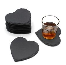 4pcs Rustic Natural Slate Heart Coffee Table Mug Drink Cup Mat Coaster Valentine