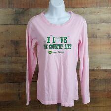 John Deere T-Shirt Womens Size 7/9 Pink Long Sleeve Tz2