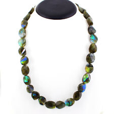 462.05 CTS NATURAL BLUE FLASH OVAL FACETED LABRADORITE BEADS NECKLACE