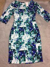 H&M Womens Blue Teal Turquoise Geo Triangle Body Stretch Dress Sz 4