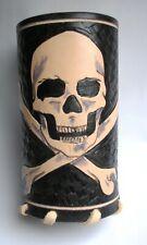 SKULL - leather motorcycle drink cup bottle holder ORIGINAL handmade