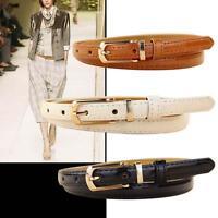 Fashion Women Lady Girl Skinny Waist Belt Leather Classical Narrow Waistband GU