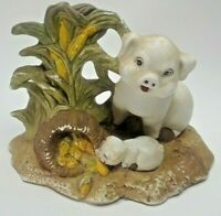 Mother Pig 4 Baby Pigs Figurines Black Heavy Carved Resin 4 Sow 2 Piglets Ebay