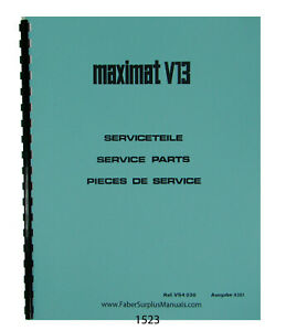 Emco Maximat V13 Lathe Parts Manual  #1523