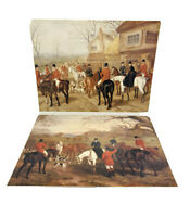 Vintage Lot Of 2 Prints Equestrian Fox Hunt Hunting Hounds Horses Poster