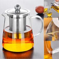 750/950mL Heat Resistant Glass Teapot Stainless Steel Infuser Flower Tea Pot