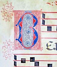 Huge deco. Antiphonary Manuscript Lf.Vellum,fancy B initial in 3 colors,c.1500