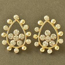 Tear Drop 9K Yellow Gold Filled clear Crystal Womens flower Stud Earrings