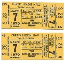 James Brown Concert Ticket Set of 2 1970 Tampa Yellow