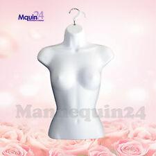 Female Torso Mannequin - White Women Hard Plastic Hanging Dress Form