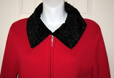 COLDWATER CREEK Red Knit Cardigan With Black Removable Faux Fur Collar MEDIUM