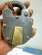 VINTAGE ALIGARH 8 LEVERS IRON PAD LOCK WITH BRASS TAG