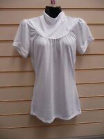 LADIES TOP WHITE SIZE 6/8 SHORT SLEEVE SOFT JERSEY BNWOT (G015