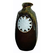 Modern Handmade Artistic Brown Gloss Vase With Sunflower Graphic Vase n381