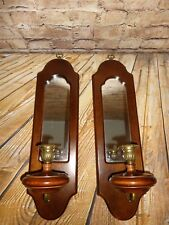 Vintage Bombay Co Pair Wall Scones Candle Holders Mirrors Dark Wood Decoration