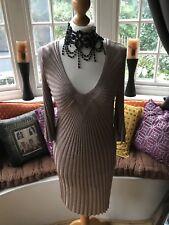 BNWT Monsoon 3/4  Sleeve Delicate Fabric Nude Gold Dress Size Medium RRP £65