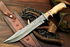 Rare!!! Custom Handmade Damascus Steel Blade Hunting Bowie Knife | SUB HilT |